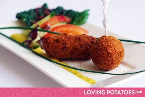 MijnAardappel.nl - Recept Hartige aardappelkroketjes met spruitjes en bacon