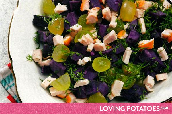 MijnAardappel.nl - Recept Paarse aardappelsalade met kip en dille